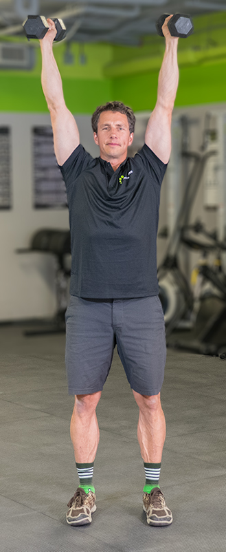 dumbbell shoulder press is a great dumbbell exercise to ibuild muscle in the shoulders and upper back